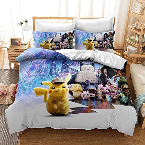 Neighbor Axin Pokemon Copripiumino 3D Pikachu Set di Biancheria da Letto per Bambini (1 Copripiumino, 2 Federe), Biancheria da Letto Pokemon Super Morbida E Confortevole (02,200x200cm)