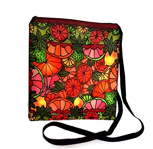 Crossbody Shoulder Purse - Citrus Fruit Design Art Bag - Accessory Zipper Pouch (9x9) Comfortable Boho Canvas - Artist Hand Made & Designed