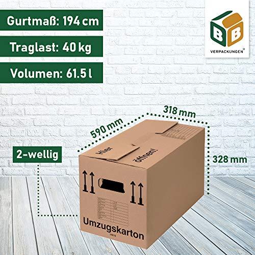 Umzugskartons 20 Stück Profi STABIL 2-wellig von BB-Verpackungen - 8