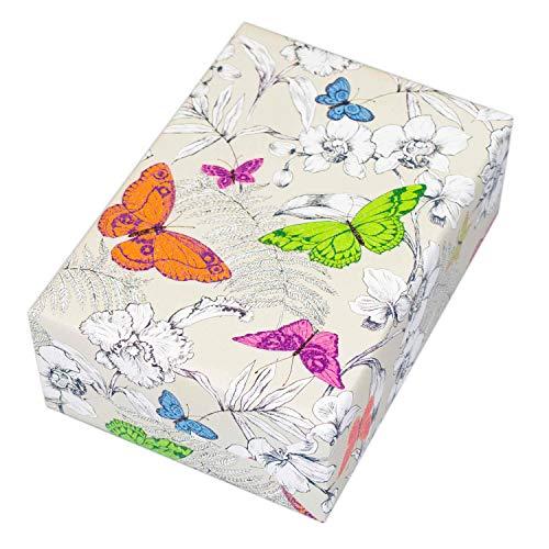 Geschenkpapier 3 Rollen (75 x 150 cm), Motiv Flora, Schmetterlinge hochwertig mit Glitter veredelt. Für Geburtstag, Sommer, Kinder. Motiv Flora, modern und hochwertig.