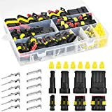 POKIENE Kit de Conector de Cable de 300 Piezas, Conector a Prueba de Agua Sellado, Terminal Eléctrica para Automóvil, Enchufe a Prueba de Agua 1/2/3/4 Pin con Caja