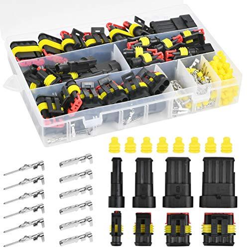 POKIENE 300 Stück Auto wasserdichte Schnellverbinder, Kabelverbinder Kabel Steckverbinder Stecker 1/2/3/4 Pin