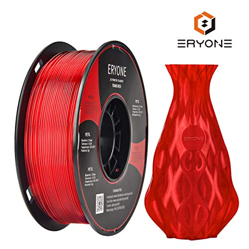 Filament 1.75mm PETG Transparent Red, ERYONE Filament For 3D Printer, 1KG, 1 Spool (Transparent Red)