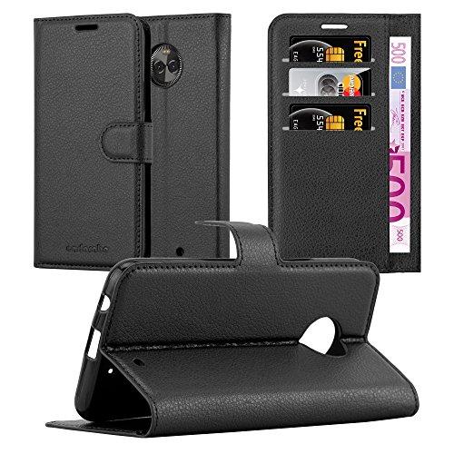 Cadorabo Hülle für Motorola Moto X4 - Hülle in Phantom SCHWARZ – Handyhülle mit Kartenfach & Standfunktion - Case Cover Schutzhülle Etui Tasche Book Klapp Style