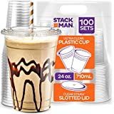 Stack Man [100 Sets - 24 oz.] Clear Plastic Cups with Straw Slot Lid, PET Crystal Clear Disposable 24oz Plastic Cups with lids