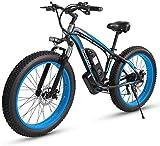 Bici electrica, 1000W de 26 pulgadas de bicicletas de montaña eléctrica Fat Tire E-Bici 7 velocidades bicicletas crucero de la playa Deportes de Montaña Suspensión completa Frenos batería de litio de
