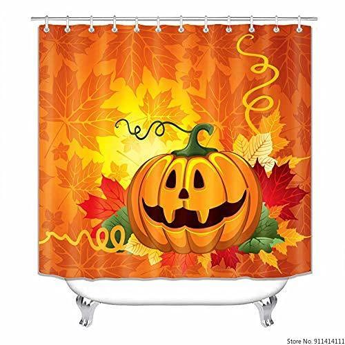 AFDSJJDK duschvorhangstange ohne Bohren Cartoon Halloween Kürbis Duschvorhang Haken Inklusive Badezimmer Moderner Duschvorhang Wasserdichtes Durable Polyestergewebe