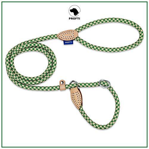 PROFTI Retrieverleine aus Nylon, Lederelemente, Zugstopp, große/kleine Hunde, 150cm lang, Grün/Beige