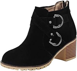 Bottine Chevill Femme,Bottes mi-Mollet Bottes de Combat Bottines Talons Haut épais Cloutés Ceinture Croix Boucle Chaussure...