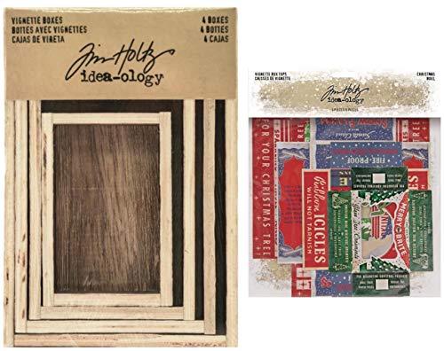 Tim Holtz Idea-Ology 2020 Christmas, 4 Vignette Boxes, Christmas Noel Vignette Box Tops. 2 Item Bundle