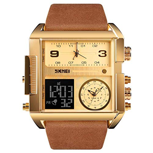 UINGKID Herren Uhr analog Quarz Armbanduhr wasserdicht Uhren Multi-Funktions-Sportuhr Square Fashion Electronic Watch