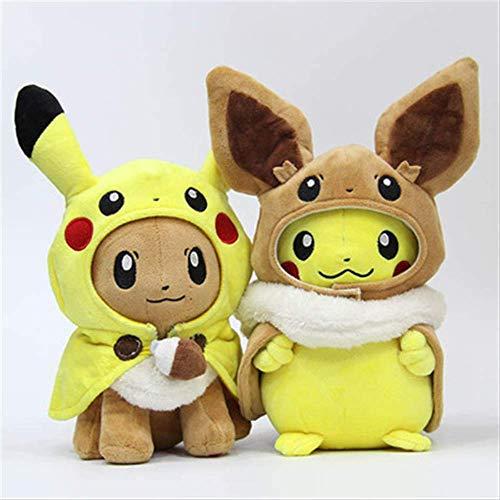 Youhj 2 Stück Pikachu Niedliches Plüschtier 30Cm, Cosplay Eevee Gengar Gefüllte Puppen Eevee Mit Umhang Für Kinder Geburtstagsgeschenke