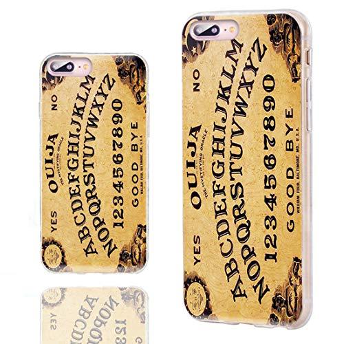 Funda para iPhone 8 Plus, funda para iPhone 7 Plus, ChiChiChiC [serie original] antiarañazos, delgada, flexible, suave, de goma TPU para iPhone 7 8 Plus 5.5 pulgadas, amarillo divertido Ouija Board