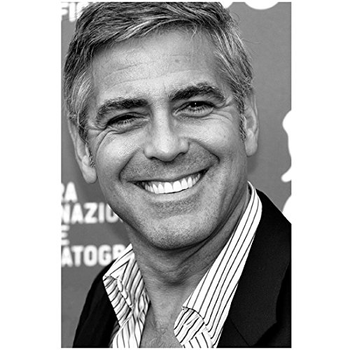 George Clooney Close Up with Big Smile on Red Carpet Black and White 8 x 10 Photo