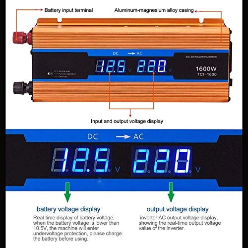 LYHY Adaptador de Cargador convertidor inversor de Corriente de Coche de Pantalla Dual de 600 W / 1200 W Onda sinusoidal modificada 600 W / 1200 W Duradero