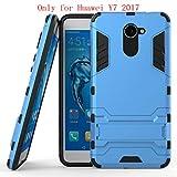 Huawei Y7 Funda, SMTR Ultra Silm Híbrida Rugged Armor Case Choque Absorción Protección Dual Layer Bumper Carcasa con pata de Cabra para Huawei Y7 ,azul