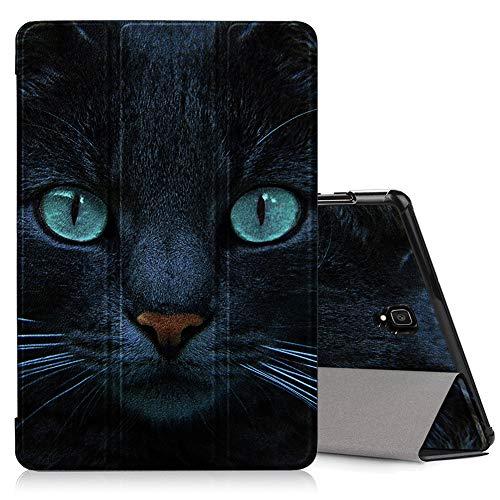 ZhuoFan Hülle für Samsung Galaxy Tab A 10.5, Schlanke Leicht Hülle Tasche Ständer Schutzhülle mit Muster Motive, Auto Schlaf/Wachen Cover für Samsung Tab A 10.5 T590/T595 Tablet, Katze