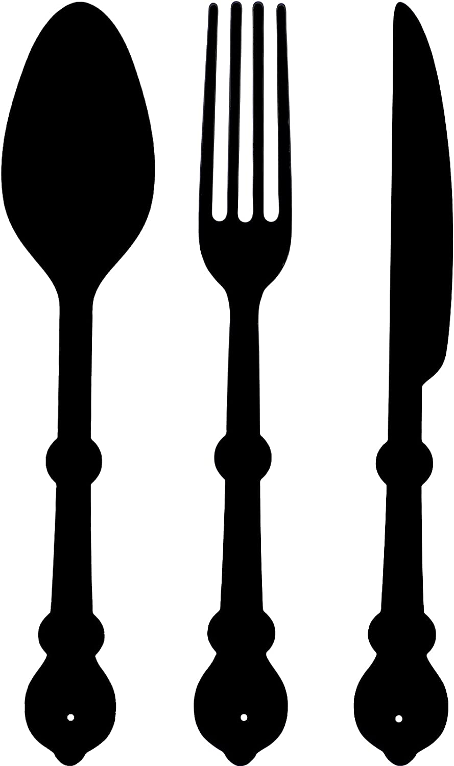 Hotop Fork Knife Spoon Set Wall Decor Rustic Metal Kitchen Utensils Wall Art Sign Wall Hanging Metal Sign Farmhouse Metal Wall Plaque Decorative Wall Hanging Sign for Home Dining Living Room (Black)