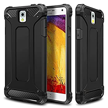 WOLLONY Galaxy Note 3 Case Rugged Hybrid Dual Layer Hard Shell Armor Protective Back Case Shockproof Cover for Galaxy Note 3 Case - Slim Fit - Heavy Duty - Impact Resistant Bumper Black