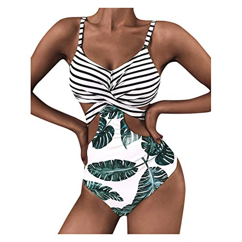 Damen Zweiteilige Bikini Sets, Neckholder Oberteil Bandeau Bademode Push up Bikinis bade Sexy Badeanzug tanga Bikinis swimsuit für Frauen Badeanzug Wellenmuster der schwarzen und weißen Streifen