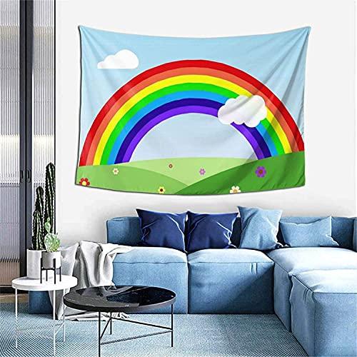 Tapiz de gotas de lluvia Tapiz para colgar en la pared Decoración del hogar Cortina de puerta para dormitorio Sala de estar al aire libre-60 * 40 '-Rainbow Meadow
