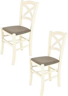 Tommychairs - Set 2 sillas Cross para Cocina y Comedor, Estructura en Madera de Haya Color anilina Blanca y Asiento tapizado en Tejido Color corzo