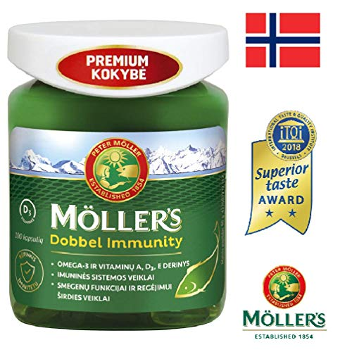 Moller's Omega 3 Dobbel Immunity 100 Capsules from Wild Fish and Natural Vitamins A, D, E