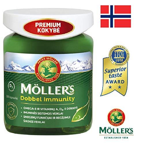 Möller's Dobbel Immunität 100 Kapseln Omega 3 aus Wildfisch und Vitamin A, D3, E
