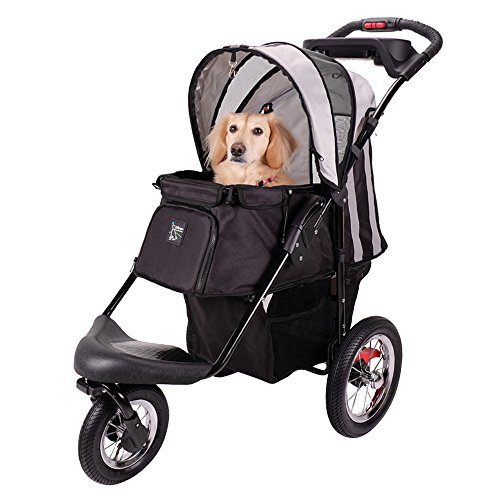 Sturdy Dog Stroller, Cat Stroller for Heavy Everyday Use, Air Filled Tires with Suspensions (Black)