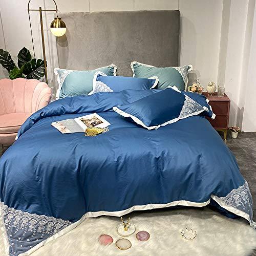 Juego de Ropa de Cama El Encaje de Cuatro Piezas de Seda Lavada Puede ser Ropa de Cama para Dormir Desnuda-Azul_Cama de 1.8m