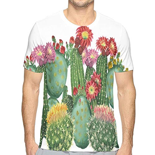 JJIAYI Mens 3D Printed T Shirts,Saguaro Barrel Hedge Hog Prickly Pear Opuntia Tropical Botany Garden Plants Print S