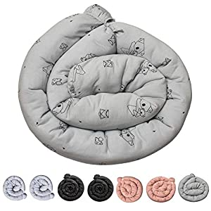 Kookoolon Organic Liner Snake Padded Pillow for Crib and Bed – 79″ Organic Cotton with Unique Origami Animals Design for Boys and Girls – for Undisturbed Sleep. Machine Washable
