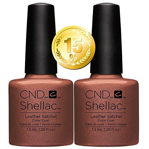 CND Shellac Vernis à ongles UV/LED Power polonais, Cartable en cuir 7.3 ml – Lot de 2