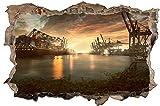 City Skyline Hamburg Hafen Stadt Wandtattoo Wandsticker Wandaufkleber D1419 Größe 70 cm x 110 cm