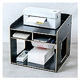 Soporte para Impresora Impresora Soportes con almacenamiento, escritorio de espacio de trabajo Organizadores de papel de escritorio 2 niveles de madera Printer Riser con 3 compartimentos para la ofici