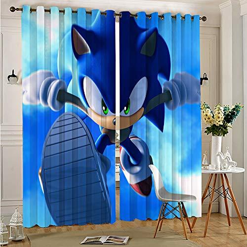 DONEECKL Cortinas opacas para dormitorio con impresión Sonic Force Print insonorizadas, cortinas opacas de privacidad de 137 x 163 cm