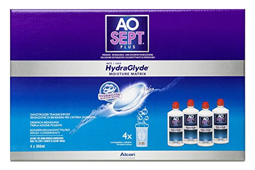 Aosept Plus mit Hydraglyde Pflegemittel, Systempack, 360 ml (4er Pack)