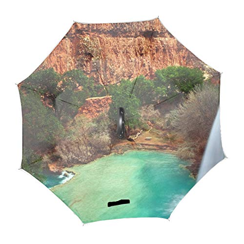 逆折り式傘 長傘滝の水の崖の岩の池 耐風 撥水 二層日傘 UVカット 晴雨兼用 C型手元 両手解放可 男女共用