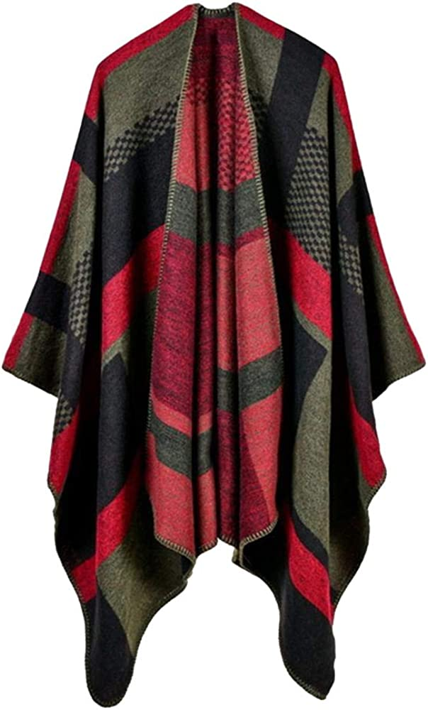 Women Poncho Cashmere Caps Fashion Plaid Big Thick Warm Scarf Winter Ponchos Blanket Knit Echarpe