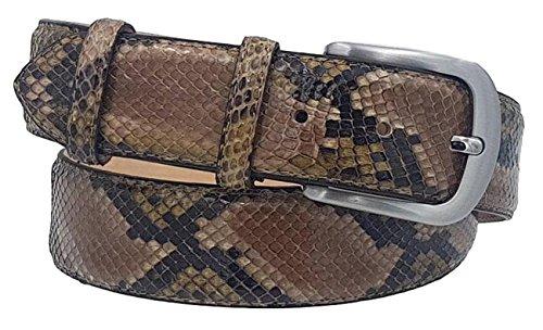 ESPERANTO Cintura in Pitone 4 cm lucido unisex Foderata in pelle Bovina Naturale con fibbia Nichel free anallergica (Fiamma verde marcata, Tg 52- LUNG TOTALE 120 CM-GIROVITA 105 CM)