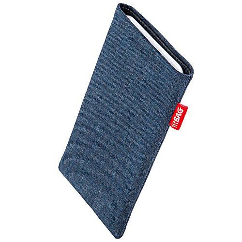 fitBAG Jive Blau Handytasche Tasche aus Textil-Stoff mit Microfaserinnenfutter für Wiko Stairway | Hülle mit Reinigungsfunktion | Made in Germany