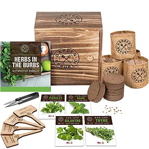 Indoor Herb Garden Starter Kit – Heirloom, Non-GMO Herb Seeds – Basil Thyme Parsley Cilantro Seed, Potting Soil, Pots, Scissors – DIY Grow Kits for Growing Herbs Indoors, Kitchen, Balcony, Window Sill