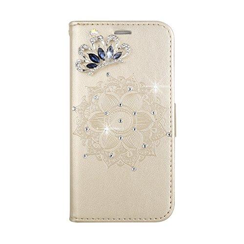 Huphant Compatible for Handyhülle LG G3 Hülle Leder Glitzer Handytasche Strass Krone Brieftasche Klapphülle Kartenfächer Flip Case for LG G3 SchutzHülle -Golden