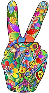 Peace Sign Vinyl Sticker Hand Deuces Decal for Car, Refrigerator, Luggage, Vehicle, Window, Bumper, Laptop, Locker (2.7x5.5)