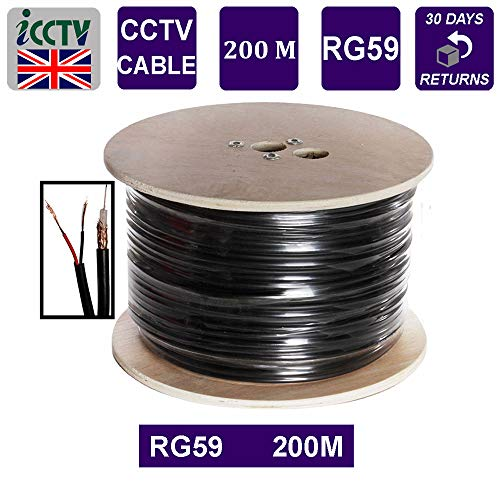 CABLEROLLRG59 - Cable de circuito cerrado de vídeo (PVC, 200 m)