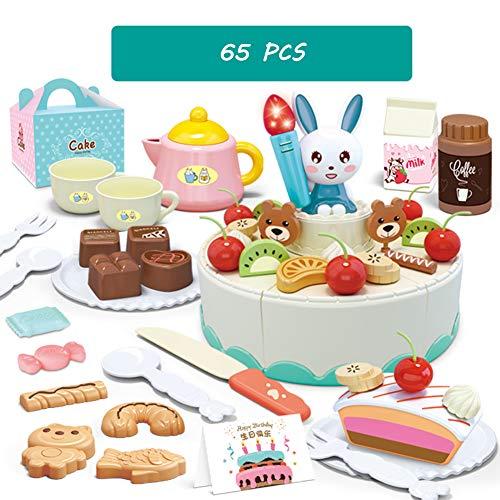 CFO 65 PC Pretend corte de la torta del juego, de 2 capas de la torta de cumpleaños del juguete, con luces y música, Frutas y Verduras Cocina Juguetes, adecuado para niños de más de 2 3 4 Años de Edad