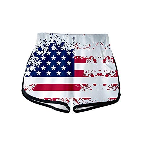 URVIP Damen Flagge der USA Shorts 3D Druck Kurze Hose Badehose Freizeithose Jogginghose Sporthose Trainingshose Jogger Sweatpants Flagge-11 S