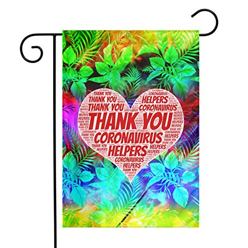 Leumius Thank You Heroes and Helpers 12x18 Inches Flag Outdoor Decorations Garden Farmhouse Yard Sign Banner Outdoor Polyester Flag