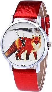 Ladies Watch Quartz Watch Men's Leather Strap Wrist Watch Dress Watch for Couple (Red)