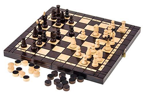 Square - Juego 2-1 - Ajedrez + Damas - L - 36 x 36 cm - Tablero de ajedrez de Madera